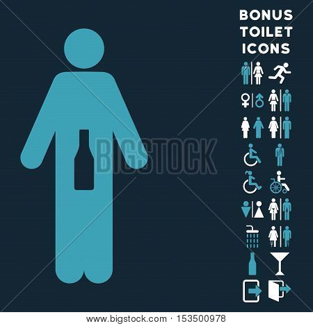WC Man icon and bonus male and lady WC symbols. Vector illustration style is flat iconic bicolor symbols, blue and white colors, dark blue background.