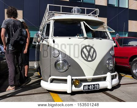 Amsterdam The Netherlands - September 10 2016: Volkswagen Transporter T1 1965 on display during Cars & Coffee XXL show. Non-ticketed public event held in the streets of the city with people carspotting.