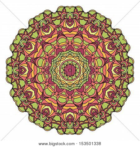 Mandala Vector For Art, Adult And Children Coloring Book, Zendoodle. Hand Drawn Round Zentangle Can