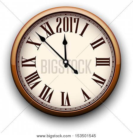 2017 New Year round 3d clock. Vector paper illustration.
