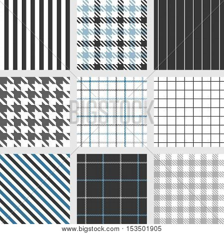 pinstripe, windowpane, bengal stripe, graph check, houndstooth, shepherd's check, tattersall seamless pattern vector