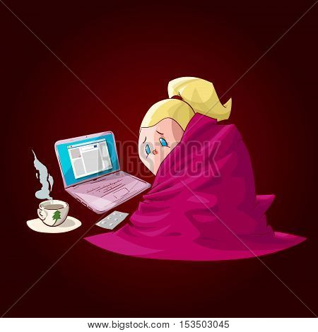 Colorful vector illustration of a cartoon sick girl covered with blanket having hot tea or medicine chilling infront of a laptop checking the social media.