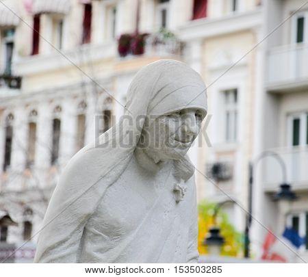 SKOPJE MACEDONIA - OCTOBER 182016:: statue of a Saint Mother Teresa in Skopje Museum of Mother Teresa Humanitarian Worker and Nobel Prize Winner in Skopje Macedonia.
