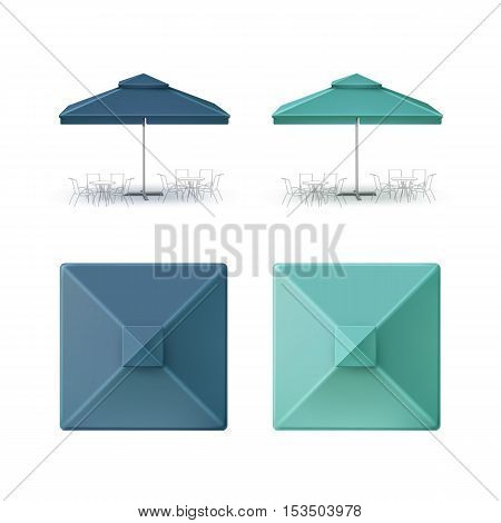Vector Set of Blue Turquoise Blank Patio Outdoor Market Beach Cafe Bar Pub Restaurant Square Umbrella Parasol  for Branding Top Side Front View Mock up Close up Isolated on White Background.