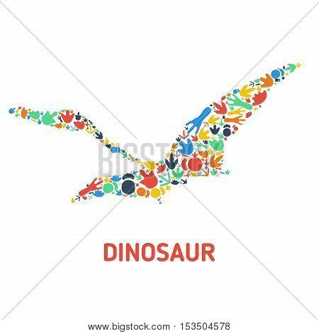 Symbol of dinosaur and dinosaur footprints. Silhouette of dinosaur footprints