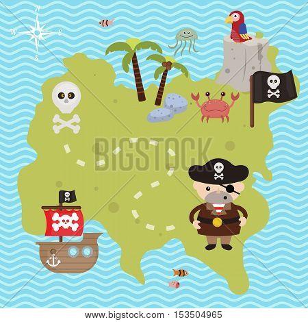 Treasure map theme. Vector illustration of pirate treasure map.
