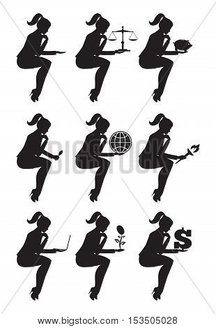 Business lady sitting thinking set of silhouettes. Sitting pensive business lady in business suit isolated on white background. She holds dollar globe laptop magnifier scales piggy bank torch.