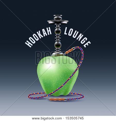 Hookah vector logo icon symbol emblem sign. Nonstandard template graphic design element with apple for menu of hookah lounge bar vintage style decoration illustration