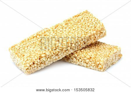 Bar sesame seeds.Isolated on a white background.