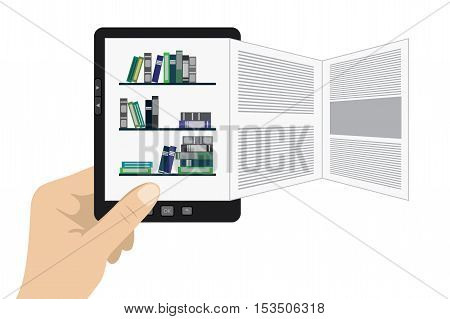 Hand holding portable modern tablet e-book reader with different pages.stock vector illustration.