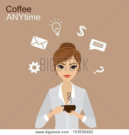 Pretty girl holding a cup of coffee and business icon cartoon stock vector illustration