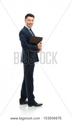 Businessman from the back - looking at you over a white backgrou