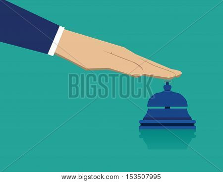 Hand Pressing Service Bell. Business Concept Illustration. Vector Flat