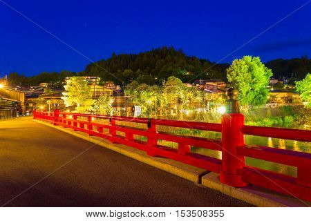 Takayama Naka-bashi Bridge River Lighted Night H