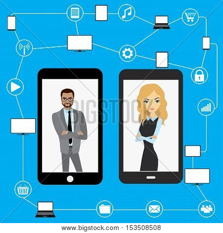 Conceptual picture of connection between gadgets icons networksbusiness peoples .Flat Vector illustration