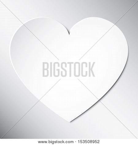 Heart from paper Valentines Day card on white background. Vector abstract background with heart. Paper hearts cut from paper.