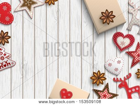 Christmas background, small scandinavian styled red decorations lying on white wooden desk, inspired by flat lay style, vector illustration, eps 10 with transparency