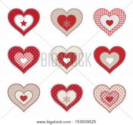 Set of red decorative patchwork hearts isolated on white background, vector illustration