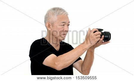 Asian Senior Man Start Photography As Hobby On Free Time White Isolate Background