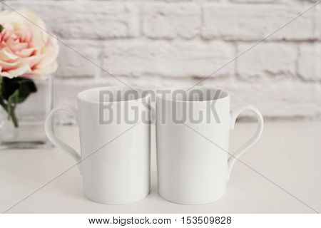 Two Mugs. White Mugs Mockup. Blank White Coffee Mug Mock Up. Styled Photography. Coffee Cup Product