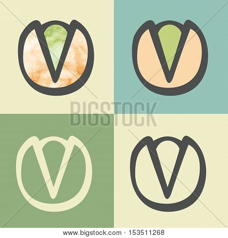 Vector outline pistachio food icon with watercolor fill. Elements for mobile concepts and web apps. Modern infographic logo and pictogram.