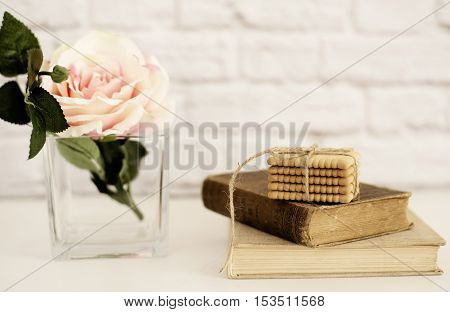 Pink Rose Mock Up. Old Books And Cookies. Styled Stock Photography. Floral Styled Wall Mockup, Valen