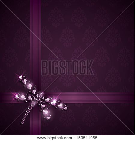 Background with ribbons and diamond dragonfly decoration - eps10