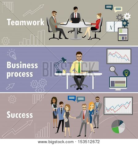 flat banner set with teamwork business process and success stock vector illustration