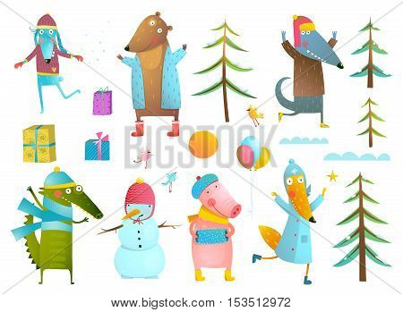 Cute animals collection wearing warm clothes celebrating New Year or Christmas. Fur trees, clouds, gift boxes, balloons. Set for winter holidays design. Vector illustration.