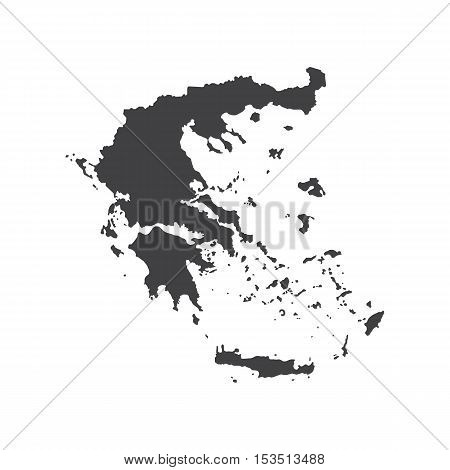 Hellenic Republic map silhouette on the white background. Vector illustration