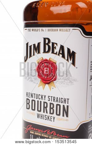 VARNA BULGARIA - AUGUST 17.2016: Close up bottle of Jim Beam Bourbon isolated on white. Jim Beam is an American brand of bourbon whiskey produced in Clermont Kentucky.