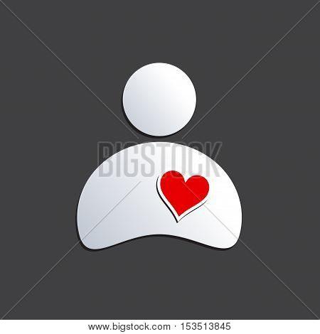 Vector sign heart cardiologist on gray, isolated illustration