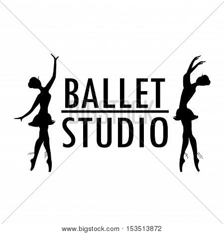 Design poster or logo ballet school dance studio stock vector illustration