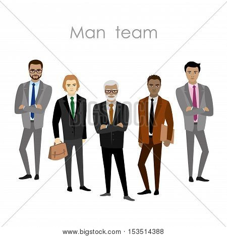 Set of five businessman cartoon men's business team. Isolated on white background. Vector flat illustration