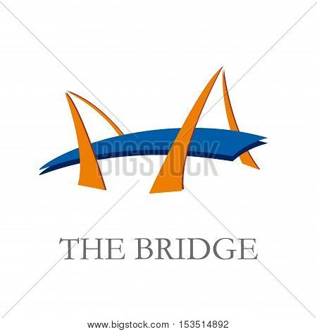 Vector sign bridge, abstract shape, isolated illustration