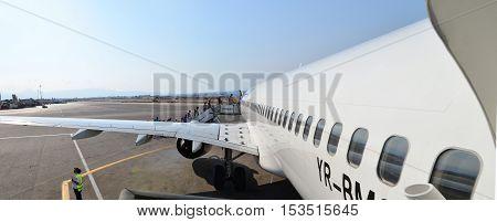 HERAKLION GREECE - 08.10.2016: airport people plane boarding process