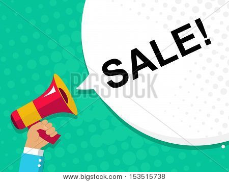 Hand Holding Megaphone With Sale Announcement. Flat Style Illustration