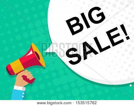 Hand Holding Megaphone With Big Sale Announcement. Flat Style Illustration