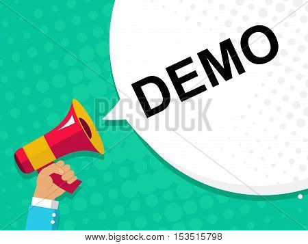 Hand Holding Megaphone With Demo Announcement. Flat Style Illustration