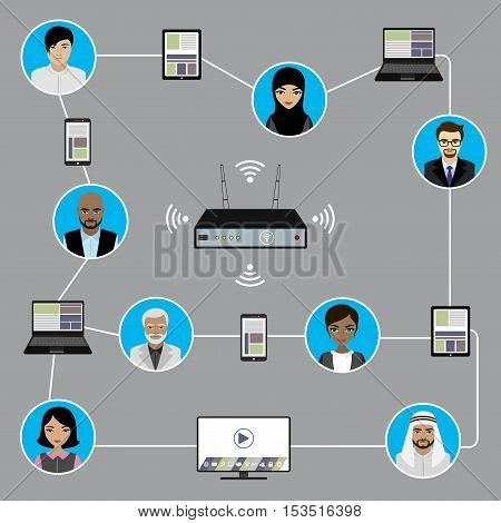 Conceptual picture of connection between business people with smart gadgets.Flat Vector illustration.