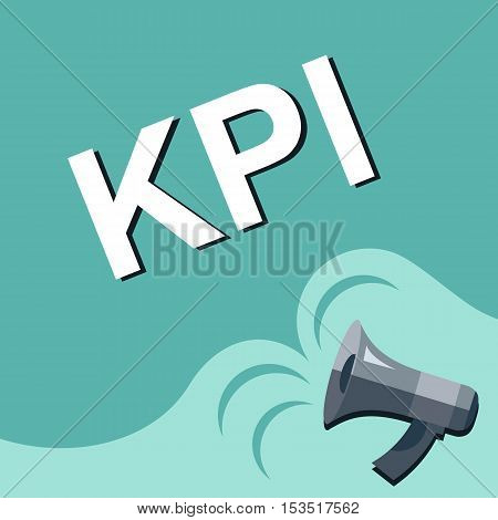 Megaphone With Kpi - Key Performance Indicator Announcement. Flat Style Illustration