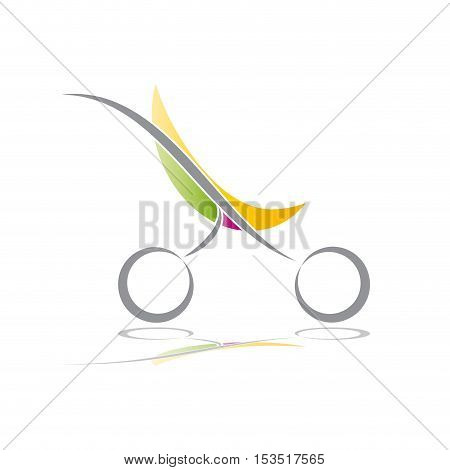 Vector sign green stroller child born, abstract shape, isolated illustration