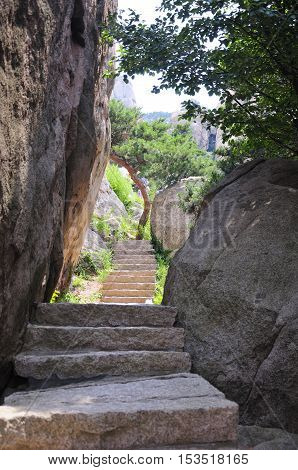 Stone steps leading up through large boulders on Laoshan or Mount Lao in Qingdao China in shandong province.