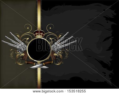 ornate black frame with shield guns and knifes