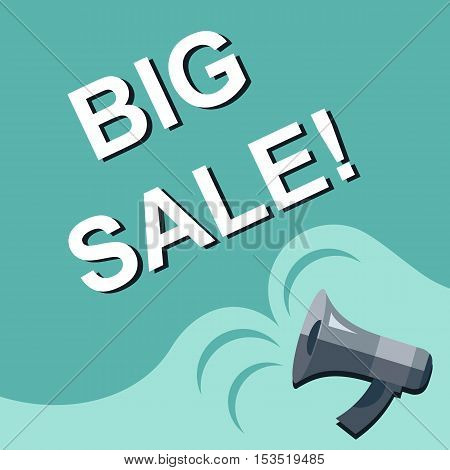 Megaphone With Big Sale Announcement. Flat Style Illustration