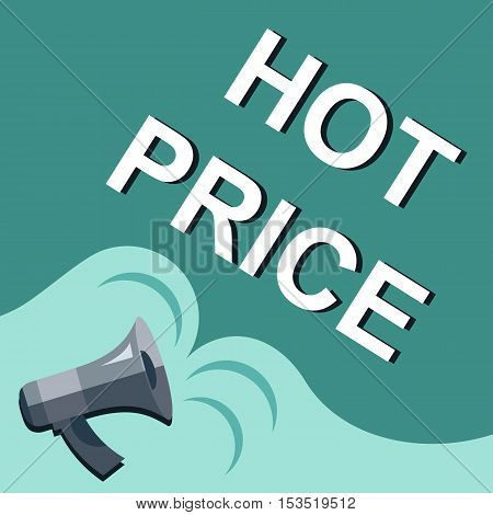 Megaphone With Hot Price Announcement. Flat Style Illustration