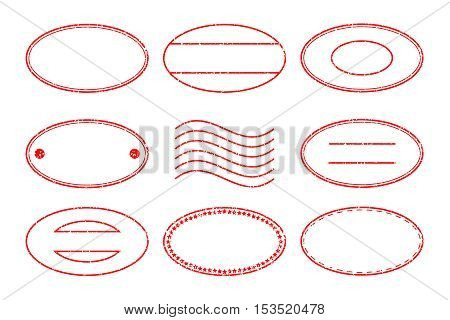 Set of red oval shape postal stamp and postmark on white background