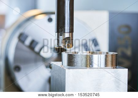 Milling process on precision CNC machine by vertical mill poster