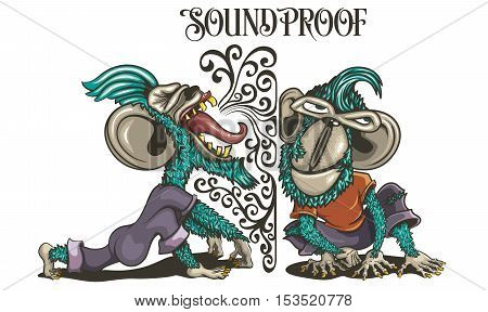 Soundproof Monkeys listening Screaming Ape Expression Chimpanzee