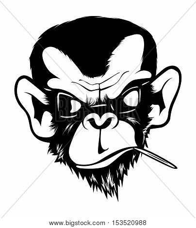 Mad Angry Bad Chimp Ape Monkey Gorilla Ink Black White
